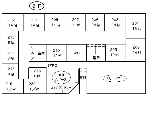 クラブセントビレッヂ 平面図 2階